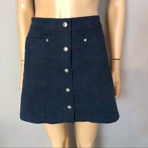 Rag and Bone Siri Denim A-line Skirt Snap Button